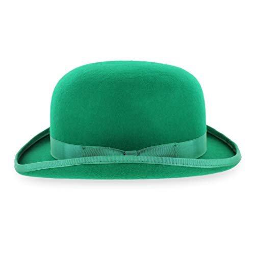 Belfry Mickey Irish Green Derby Hat with Feather and Liner (Green, Large)