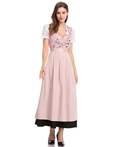 GloryStar Women's German Dirndl Dress 3 Pieces Traditional Bavarian Oktoberfest Costumes for Halloween Carnival (M, Pink-MQ)