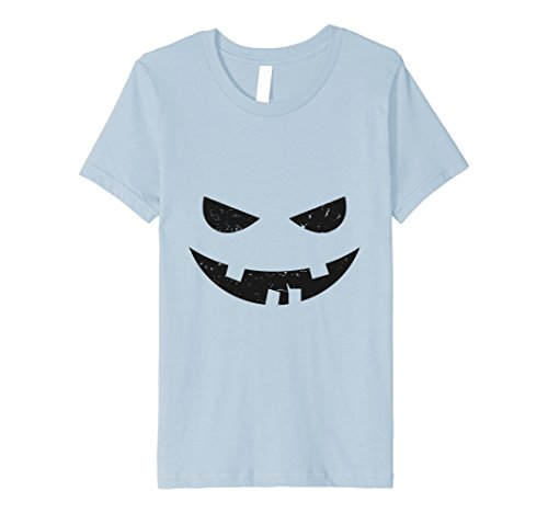 Kids Spooky Cartoon Orange Face Eyes Mouth Halloween Costume Tee 10 Baby Blue