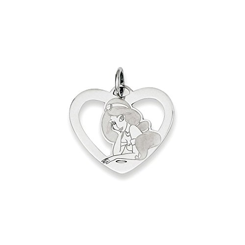 Roy Rose Jewelry Sterling Silver Jasmine Heart Charm Necklace Complete with Chain Trademark and Licensed ()