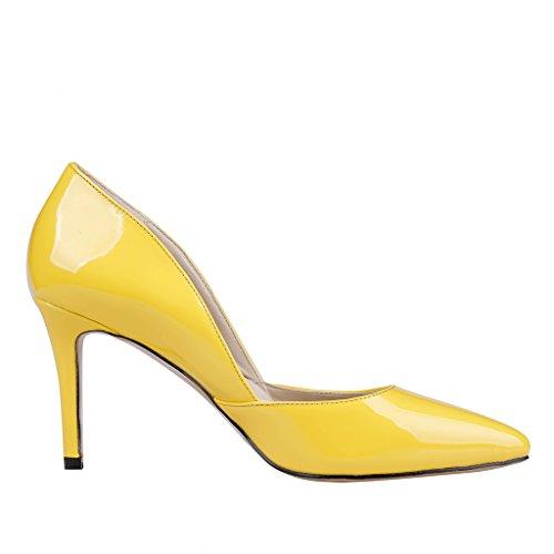 Lackleder Gelb Zapatos Mujer Amarillo EKS de Tacón 4wFv1P