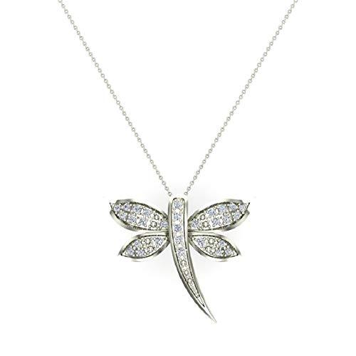 Dragon fly 14K White Gold Necklace Pavé set Diamond Charm 0.36 Carat Total Weight