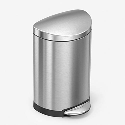 simplehuman 6 Liter / 1.6 Gallon Semi-Round Bathroom Step Trash Can, Brushed Stainless Steel