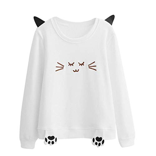 Big Sale! Women Long Sleeve Sweatshirt Daoroka Ladies Cat Ear Embroidery Animal Print O Neck Jumper Pullover Tops Fashion Winter Autumn Warm Causal Loose Cute Blouse T Shirt -