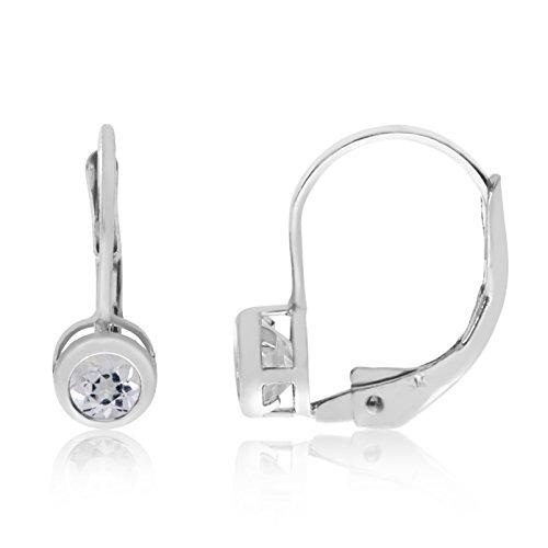 (Jewels By Lux 14k White Gold Dangle Genuine Birthstone 4mm White Topaz Bezel Leverback Earrings (0.3 Cttw.))
