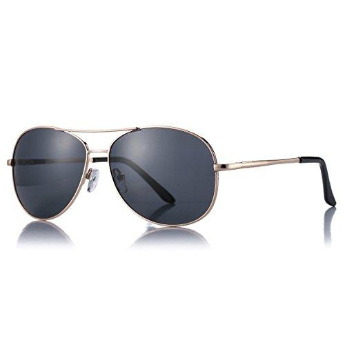 AZORB Polarized Aviator Sunglasses for Men Classic Military Style UV400 (Gold/Black, 64)
