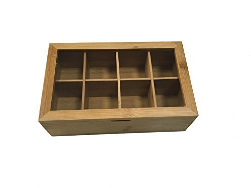 June and Jasper Bamboo Tea Box- Best tea storage and organizer- 8 compartments – easy opening – eco friendly - great gift for tea lovers