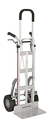 Frame Extension Double Grip Handle 500 lb 21.5 Width Stair Climbers 18 x 9 Nose 10 Wheels Capacity 60 Height 20.5 Length Magliner NPKC16G2C5H-V Aluminum Brake Hand Truck