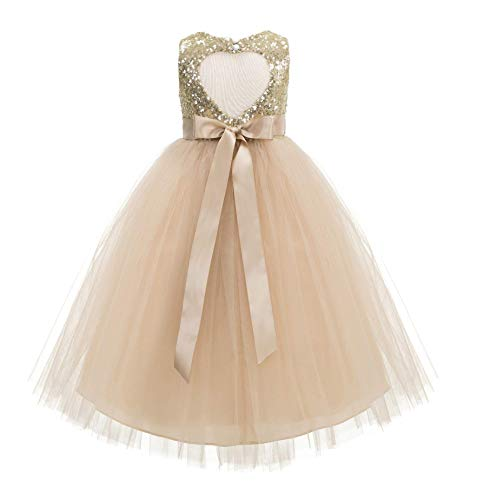 ekidsbridal Heart Cutout Sequin Junior Flower Girl Dress Christening Dresses 172seq 6 Gold/Champagne (Christening Gowns Designer)