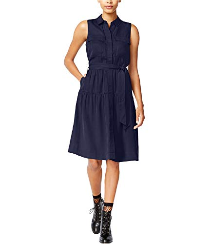 Maison Jules Womens Utility-Pocket A-Line T-Shirt Dress Navy L