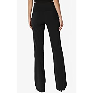 TheMogan Women's Thick Stretch Cotton Foldover Bootleg Yoga Pants Black L