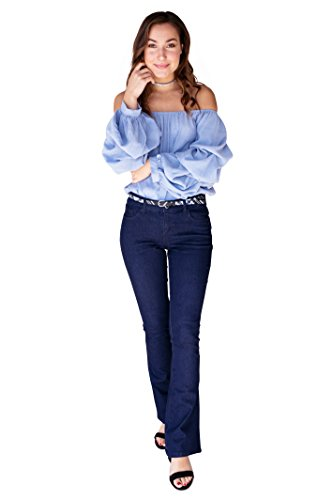 Bebop Womens Flare Pant Dark Wash Size 9 Stretch Denim Removable Belt (Flare Dark Wash)