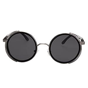 Sunclassy Metal Frame Side Shield Oval 52mm Hipster Round Sunglasses Vintage Retro Steampunk Gothic Hippie Circle Retro (Black, Black)