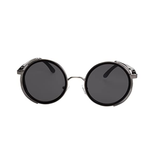 Sunclassy Metal Frame Side Shield Oval 52mm Hipster Round Sunglasses Vintage Retro Steampunk Gothic Hippie Circle Retro (Black, Black) 4