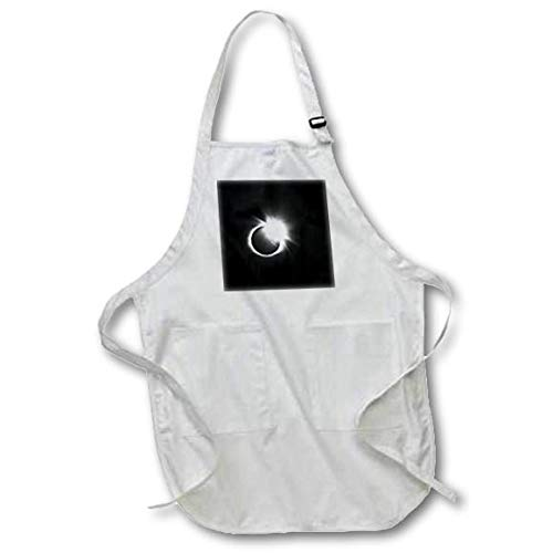 3dRose Stamp City - Astronomy - Photograph of The 2017 Solar Eclipse. Capture of The Diamond Ring. - Black Full Length Apron with Pockets 22w x 30l (apr_290787_4)