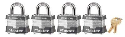 Master Lock 470-3QCOM 4 Pin Tumbler Safety Padlock Set 4 Locks Diffe