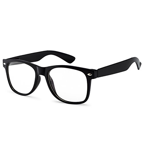 - OWL - Non Prescription Glasses - Clear Lens Black Frame - UV Protection (1 Pair)