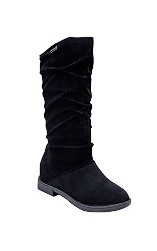 T&Mates Womens Stylish Pull-on Round Toe Faux Suede Hidden Increase within Mid-Calf Boots (7 B(M)US,Black) (Suede Renaissance Boot Womens)