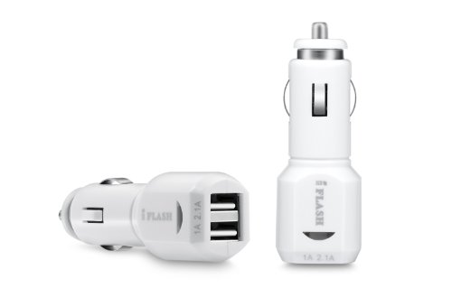 iFlash Dual USB Port Car Charger for Apple iPad, iPad2, iPad3, iPhone 3G/3GS, iPhone 4/4S, iPod Touch 4G, Nano 6th. Support all iPad, iPod, iPhone Models. Also Support Samsung Galaxy, Motolola Droid, HTC Smart Phones, Amazon Kindle. (White Color, Retail Package)