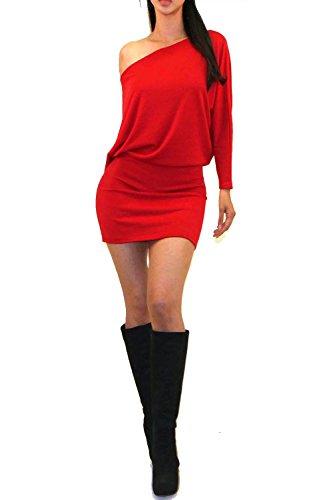 one shoulder batwing sleeve dress - 2