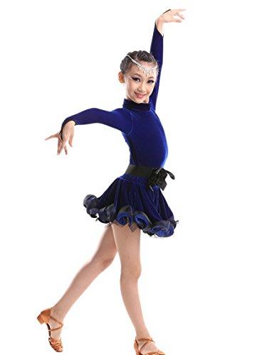 [Happy Cherry Kids Girls Leotard Dance Dress Latin Rumba Samba Salsa Dancewear for 6-7Y Blue] (Childrens Salsa Costumes)