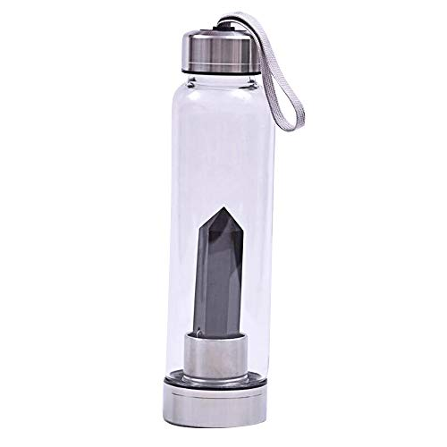 ystal Quartz Water Bottle Hydrotherapy Cup, Gemstone Water Bottle for Crystal Wand Point Inside Reiki Healing Crystal Healthy Drinking Water W3898 (Black Obsidian) ()