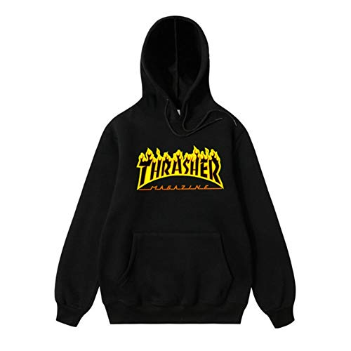 76a5940fe4d THSM-Frist Thrasher Skate Magazine Fashion Hoodie Mens Sweater Flame  Pullover Sweatshirt Black S