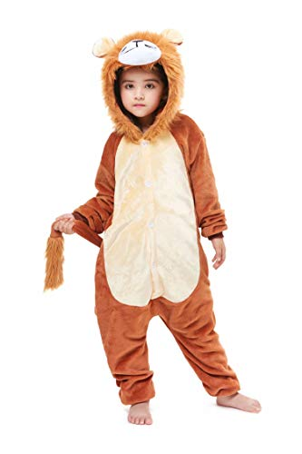 Kids Lion Animal Onesie Costume One-Piece Halloween Cosplay Pajamas 6 Years