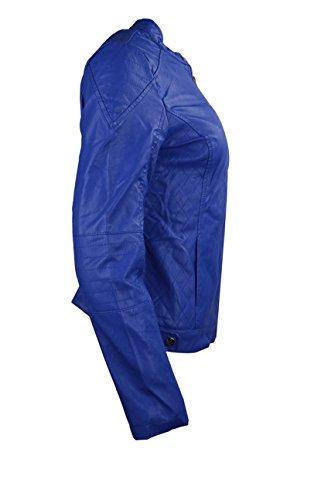 Las mujeres constituyen Faux Leather Jacket Ladies Llanura costura Blue