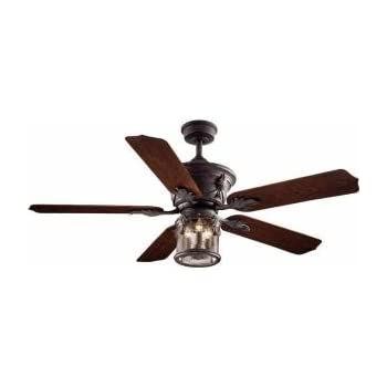 Allen roth castine 52 in rubbed bronze downrod or close mount indooroutdoor oxide bronze patina ceiling fan aloadofball Image collections