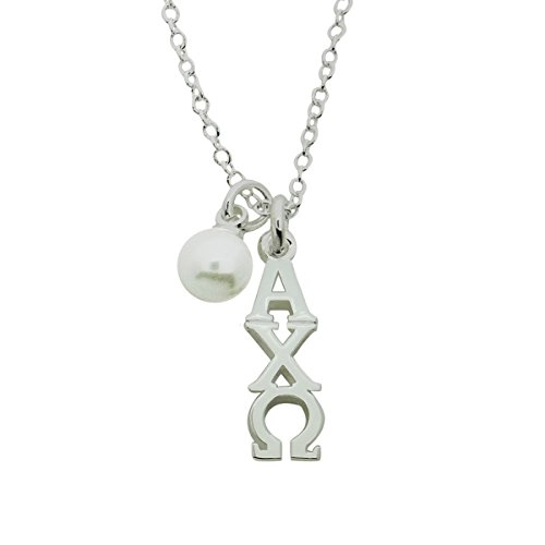 Alpha Chi Omega with Glass Pearl Greek Sorority Lavalier Pendant with Chain 16 Inches Silver Plated