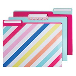 Divoga(R) Sweet Smarts Collection Fashion File Folders, Letter Size, Assorted Colors, Pack Of 9