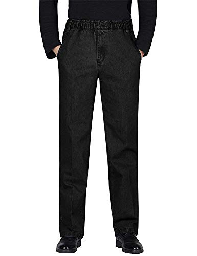 IDEALSANXUN Men's Elastic Waist Denim Solid Casual Pants (#1 Black, 36)