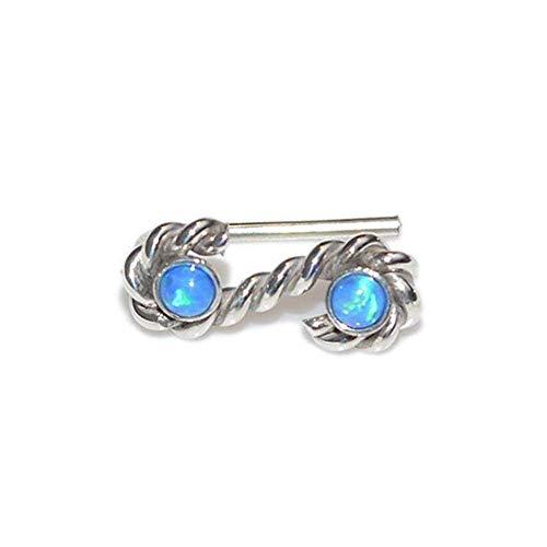 Silver Dark Blue Opals Ear Climber Earring/Ear Crawler, Earcuff, Ear Wrap, Ear ()