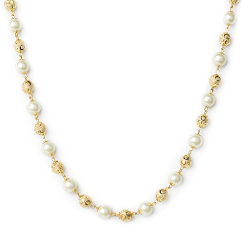 Three Shades Gold Plated Pearl Mala & White Pearl Designer Chain for Women & Girls