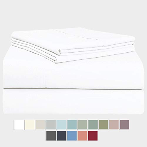 Pizuna 400 Thread Count Queen Cotton Sheets Set White, 100% Long Staple Cotton Sheet Set, Soft Cotton Bed Sheets Deep Pocket fit Upto 17