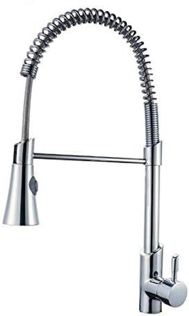 キッチン水栓 現代のキッチンシンクの蛇口ステンレス鋼シングルレバーハンドルプルダウンスプレーヤーキッチン蛇口真鍮ボディ付きクローム仕上げハイエンドバスルーム備品 キッチンとバスルームに適しています (Color : Silver, Size : 53cm)