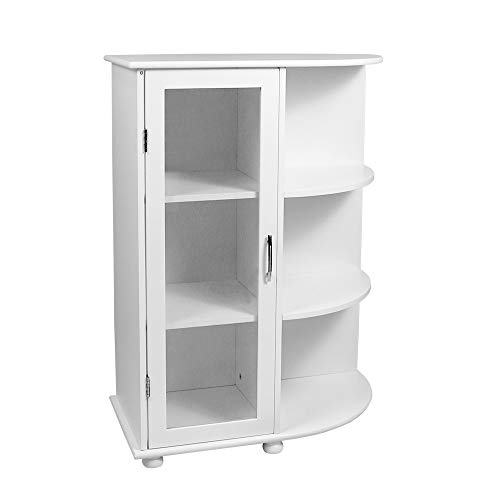 (TOYEEKA White Bathroom Storage Cabinet with 3 Tier Side Shelf, Floor Wooden Bathroom Rack with Glass Door)