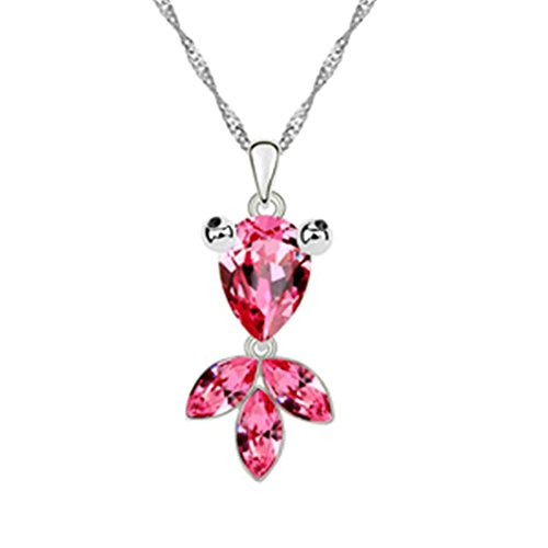 Adisaer Gold Plated Pendant Necklaces for Women Cubic Zirconia Goldfish Rose Red