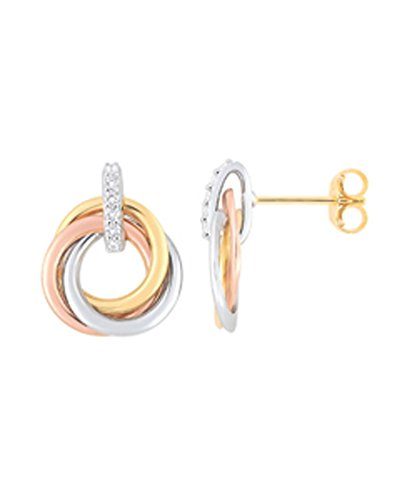 OR by Stauffer - Boucles d'oreilles or tricolore 375/1000, oxydes de zirconium by Stauffer