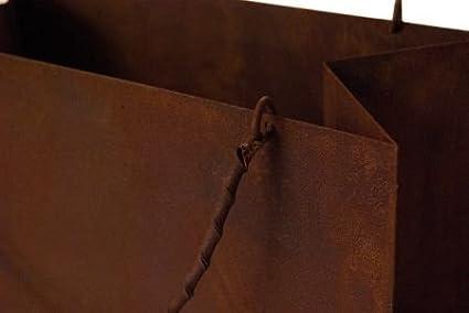 Deko-Tasche aus Metall Naturrost Blumendekoration Rost Gartendekoration Gartentasche