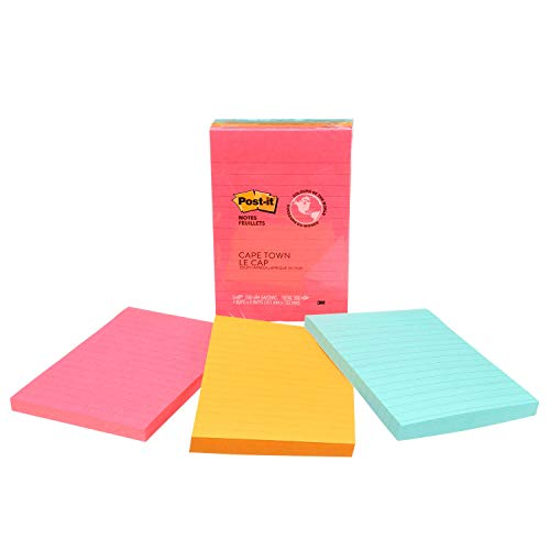 Post-it Notes, America's #1 Favorite Sticky Note, 4 in x 6 in, Cape Town Collection, Lined, 3 Pads/Pack, 100 Sheets/Pad - Planner 3m