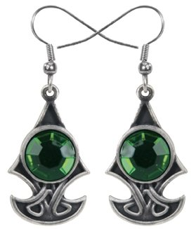 (Design Doranne Celtic Axe Earrings w/Green Gem Lead Free Pewter Jewelry Accessory Ancient Celtic Style Design by Ebros)