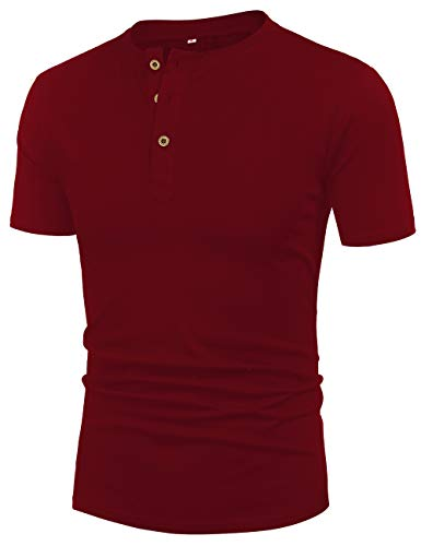 Mens Cotton Short Sleeve Henley Stylish Pullover 3 Button Tee Wine Red M