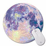 Non-Skid Rubber Pad Personalized Round Desktop Mousepad, Colorful Moon - Brown Justin Call