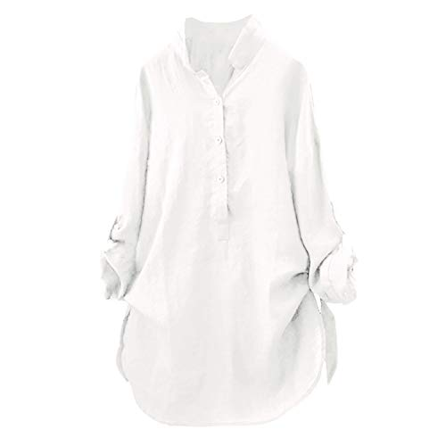 Womens Tops and Blouses Autumn Solid Button Ladies Top Vintage Long Sleeve Long Shirt Woman Clothes(White,M) ()