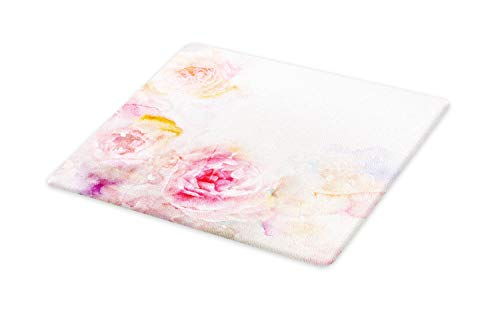 Ambesonne Shabby Flora Cutting Board, Nature Garden Romantic Victorian Flowers Roses Leaves Image, Decorative Tempered Glass Cutting and Serving Board, Large Size, Pale Pink