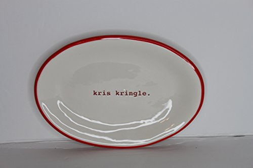 Kris Kringle Christmas - Rae Dun Magenta Ceramic Oval Plate Christmas Typewriter Kris Kringle. - Cream/Red