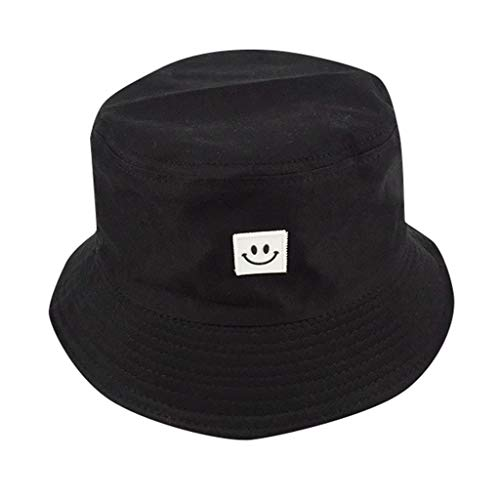 BCDshop Unisex Outdoor Boonie Fisherman Bucket Hat Summer Smile Reversible Packable Cap (Black)