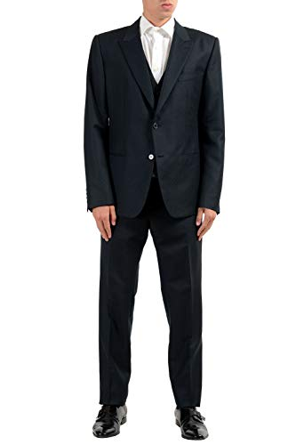 Dolce & Gabbana Three Button Suit - Dolce & Gabbana Men's Wool Mohair Black Two Button Three Piece Suit US 44 IT 54